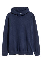 Fine-knit hooded jumper - Dark blue - Men | H&M CN 1